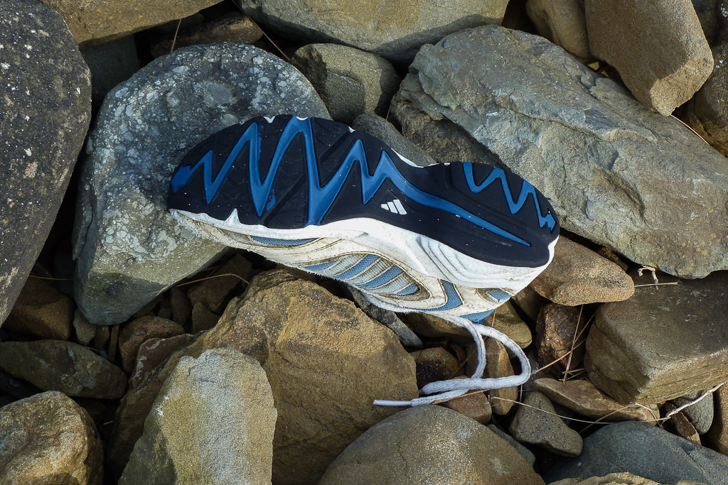 running-shoe-on-rocks-beach