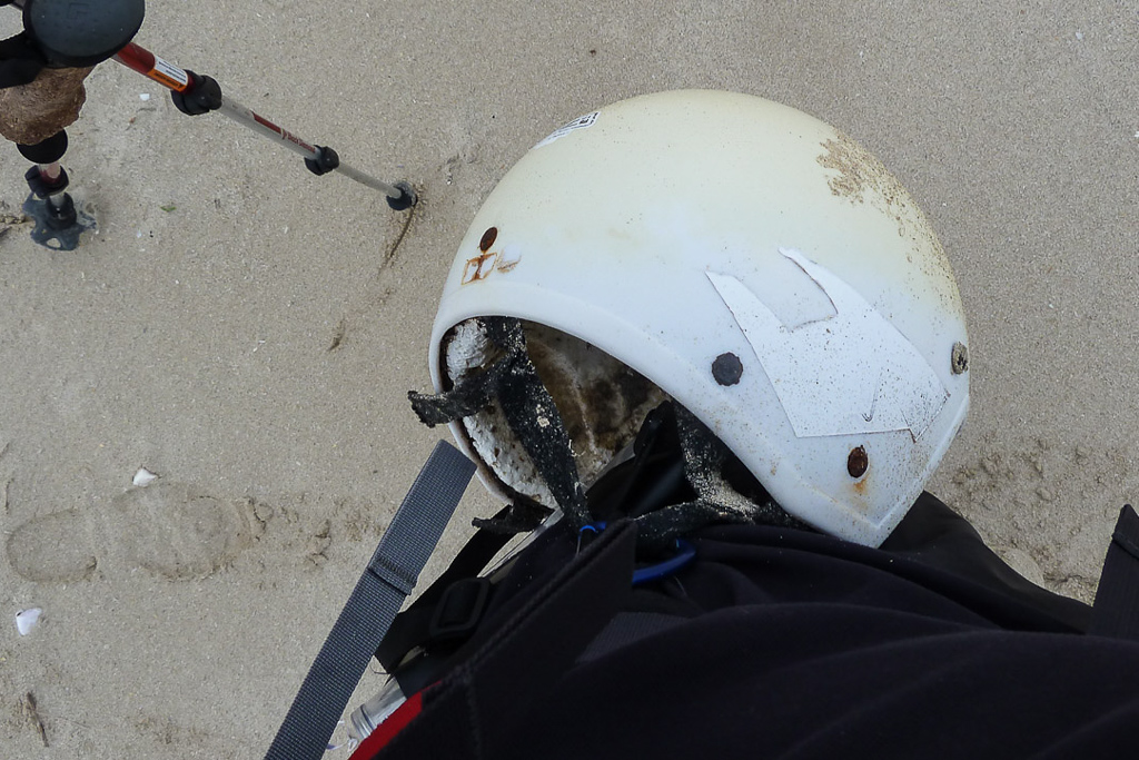 helmet-on-beach-at-discovery-bay
