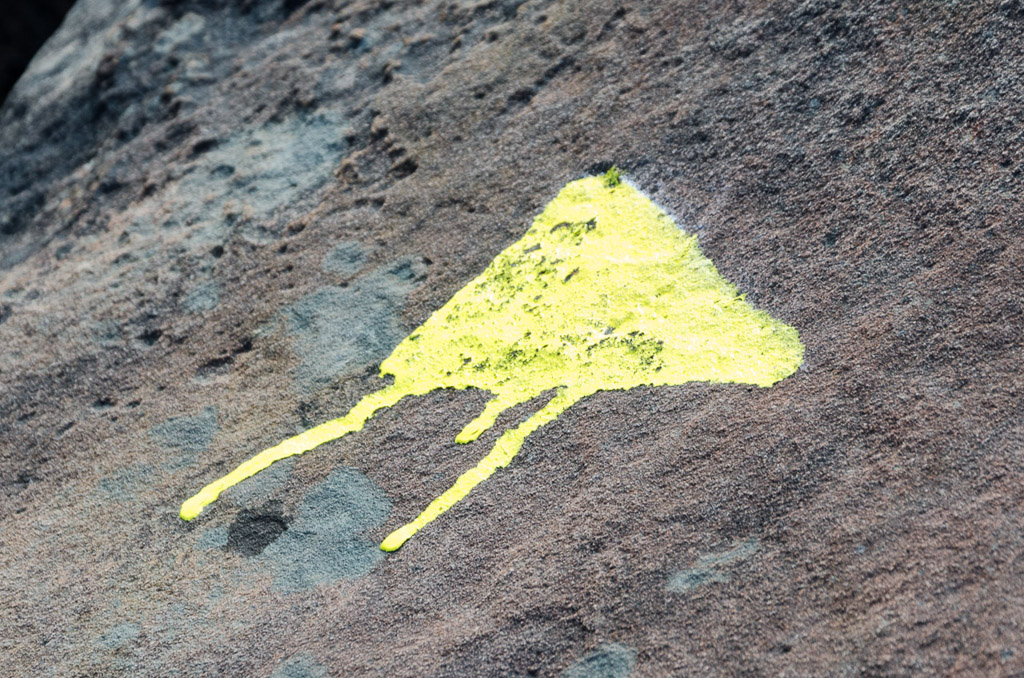 yellow-painted-track-marker