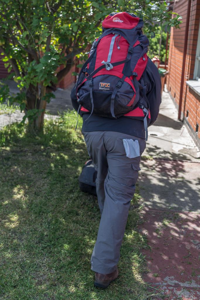 mowing-lawn-in-hiking-gear