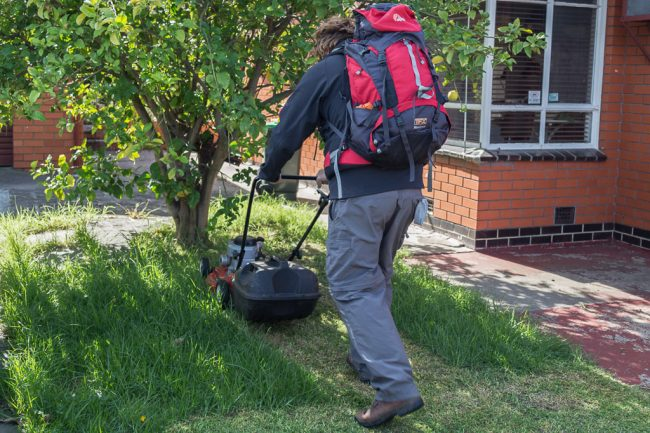 mowing-lawn-in-hiking-gear