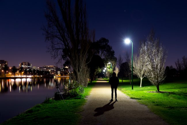 man-in-dark-albert-park-lake