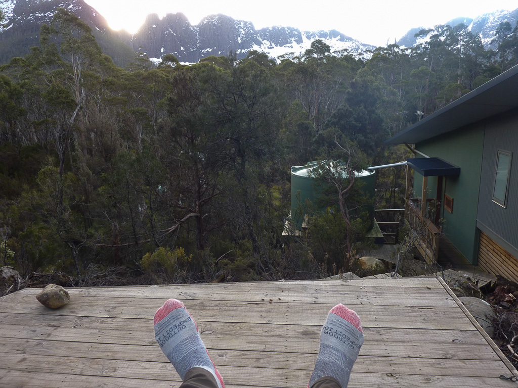 sitting-outside-bert-nichols-hut-overland-track