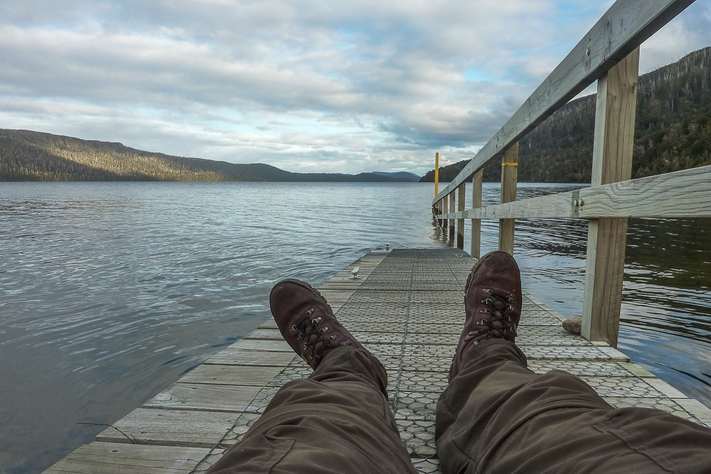 lying-on-boat-jetty-echo-point-hut-overland-track