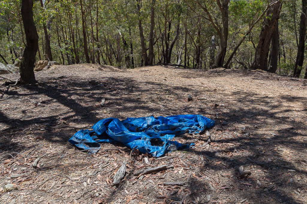 blue-tarp-on-ground-lerderderg-state-park