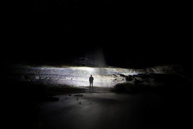 under-waterfall-night
